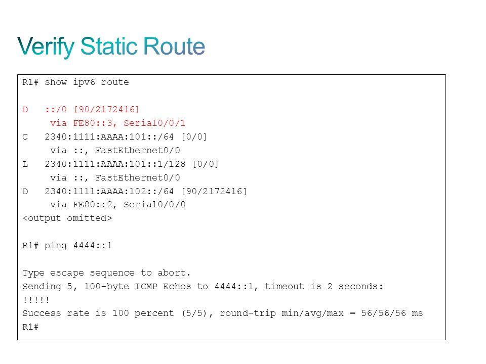 Verify Static Route R1# show ipv6 route D ::/0 [90/2172416]